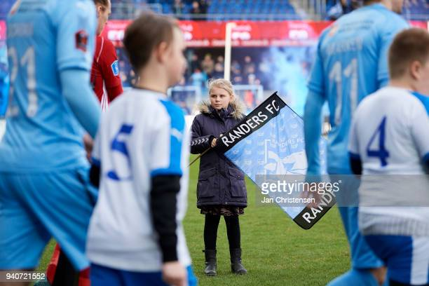A mascot looks on when the players walk on to the pitch prior to the Danish Alka Superliga match between Randers FC and Lyngby BK at BioNutria Park...
