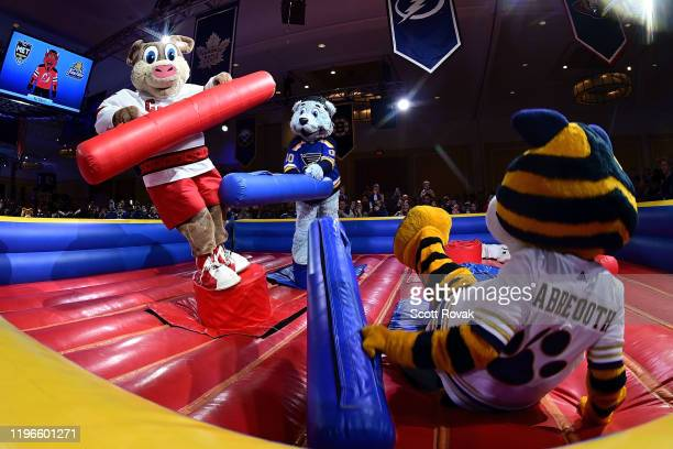 NHL mascot Louie of the St Louis Blues knocks down Stormy of the Carolina Hurricanes at the NHL mascot showdown on January 25 2020 in St Louis...