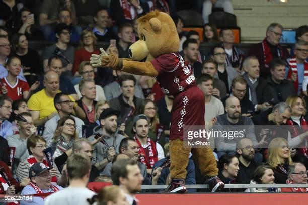 Mascot of FC Bayern Munich Berni during the EuroCup Quarterfinal Round 1 match between FC Bayern Munich and Unics Kazan at Audi Dome on March 6th...