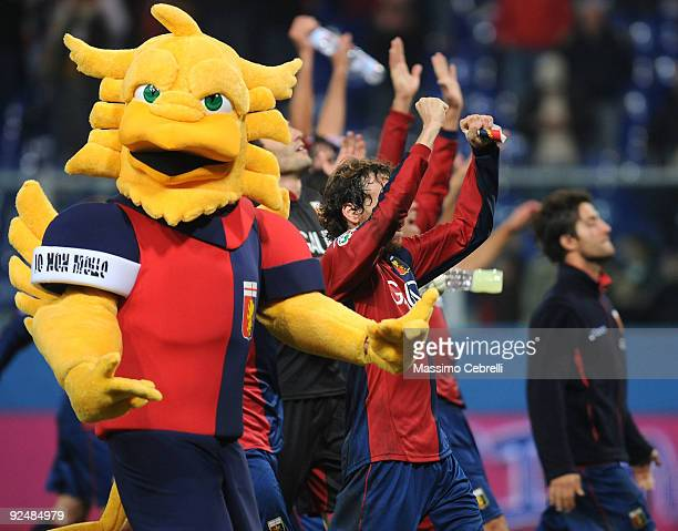 Mascot of Genoa CFC celebrate the victory with players after the Serie A match between Genoa CFC and ACF Fiorentina at Stadio Luigi Ferraris on...