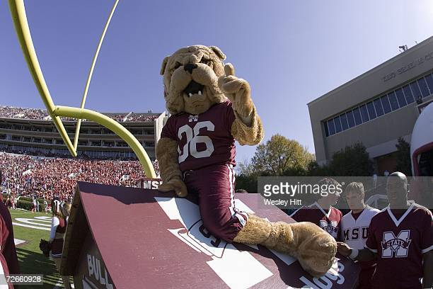 Mascot of the Mississippi State Bulldogs signals to the camera before a loss to the Arkansas Razorbacks at Davis Wade Stadium on November 18 2006 in...