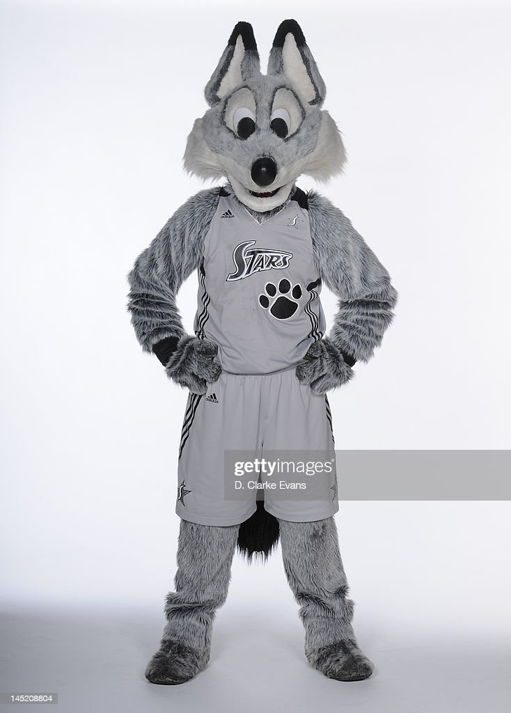 A mascot of the San Antonio Silver Stars poses for a