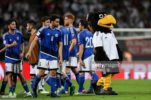 Mascot Paule and team of San Marino after the FIFA 2018 World Cup Qualifier between Germany and San Marino on June 10, 2017 in Nuremberg, Bavaria.