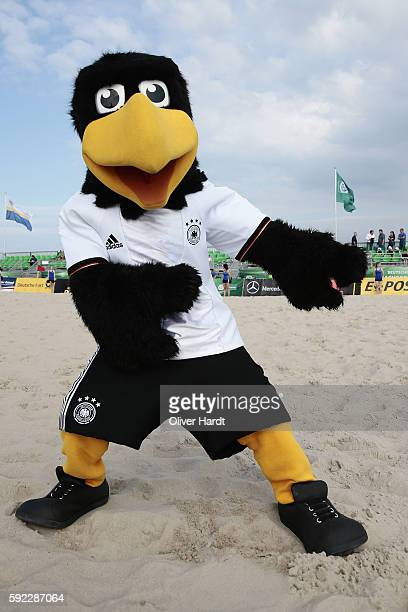 Mascot Paule during the first round match between BST Chemnitz and Hertha BSC Berlin on day 1 of the 2016 German Beach Soccer Championship on August...