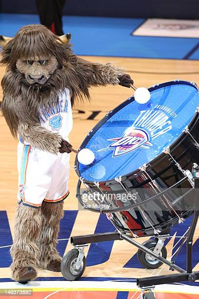 Mascot performs during Game Two of the 2012 NBA Finals between the Miami Heat and the Oklahoma City Thunder at Chesapeake Energy Arena on June 14...