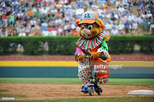 A mascot performs during the game between the Waipio Little League team from Waipio Hawaii and the Matamoros Little League team from Matamoros Mexico...