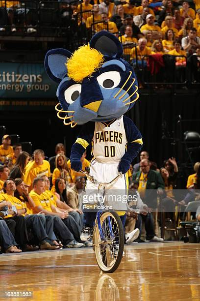A mascot performs during the Game Three of the Eastern Conference Semifinals between the New York Knicks and the Indiana Pacers during the 2013 NBA...