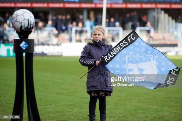A mascot prior to the Danish Alka Superliga match between Randers FC and Lyngby BK at BioNutria Park Randers on April 01 2018 in Randers Denmark