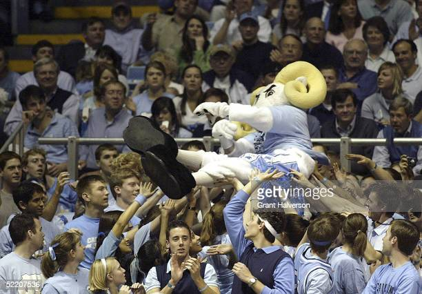 Mascot Ramses of the North Carolina Tar Heels crowdsurfs during an Atlantic Coast Conference game against the Virginia Cavaliers on February 16 at...