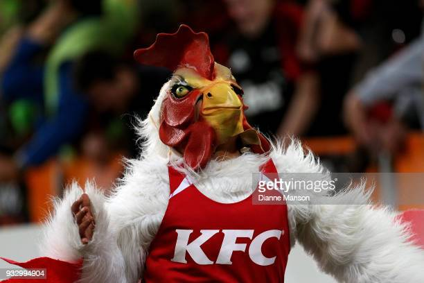 KFC mascot reacts during the round five Super Rugby match between the Highlanders and the Crusaders at Forsyth Barr Stadium on March 17 2018 in...