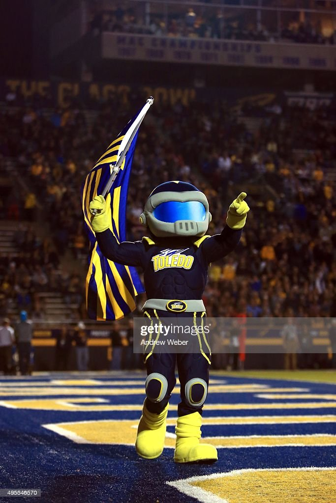 Mascot Rockey the Rocket points to the crowd during the first quarter against the Northern Illinois Huskies at Glass Bowl on November 3, 2015 in Toledo, Ohio.
