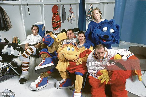 Portrait of mascots Paul Bonds as Oklahoma City Blazer Clyde Darrin Regier as Dazzler Jeremy Devin as Kirby instructor Pierre Deschesnes as Jumping...