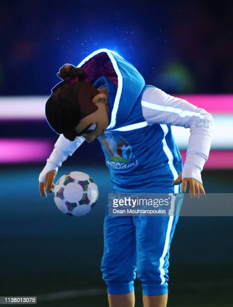 EURO 2020 mascot Skillzy entertains the crowd prior to the 2020 UEFA European Championships Group C qualifying match between Netherlands and Germany...