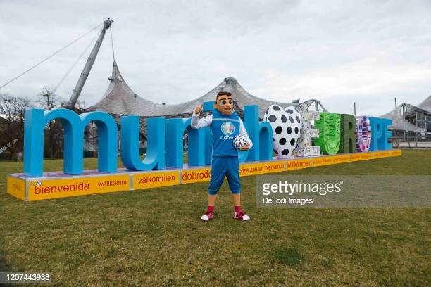 mascot Skillzy looks on during the press conference UEFA EURO 2020 100 days to go at Olympiahalle on March 3 2020 in Munich Germany