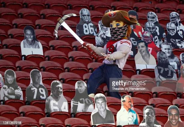 Mascot Sourdough Sam of the San Francisco 49ers walks through the stands during the second quarter against the Los Angeles Rams at Levi's Stadium on...