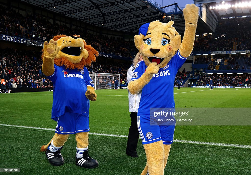 Mascot Stamford the lion waves during the Barclays Premier League match between Chelsea and West Bromwich Albion at Stamford Bridge on November 9, 2013 in London, England.