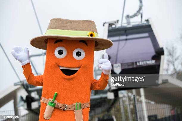 Mascot 'Stecky' poses for a picture during a press preview of the IGA 2017 in Berlin Germany on April 7 2017 Last arrangements are being done for the...