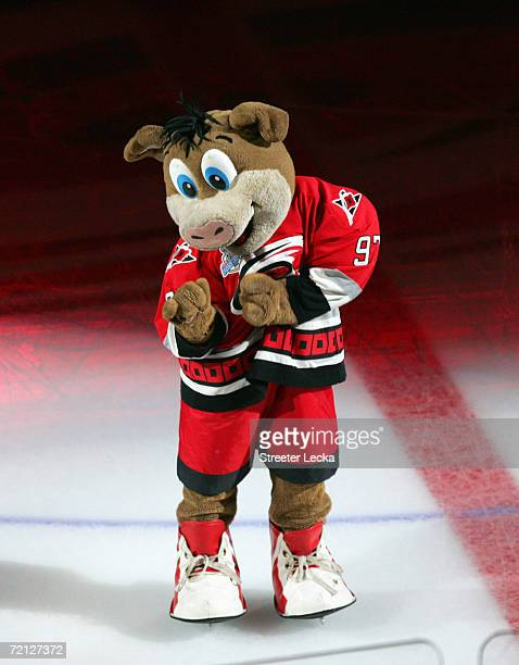 Mascot Stormy of the Carolina Hurricanes dances on the ice before their preseason game against the Columbus Blue Jackets on September 29 2006 at the...