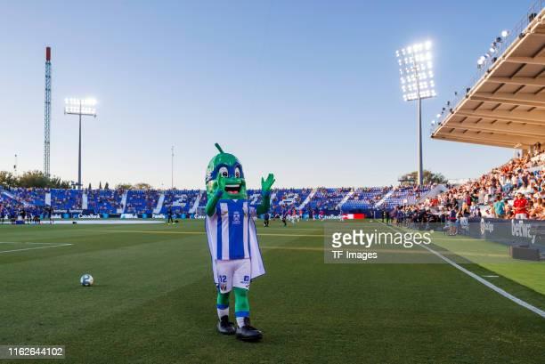 Mascot Superpepiino of CD Leganes gestures during the Liga match between CD Leganes and CA Osasuna at Estadio Municipal de Butarque on August 18 2019...