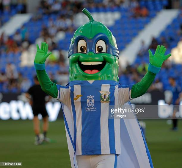 Mascot Supperpepino of CD Leganes gestures during the Liga match between CD Leganes and CA Osasuna at Estadio Municipal de Butarque on August 18 2019...