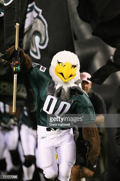Mascot Swoop of the Philadelphia Eagles enters the field before the game against the Green Bay Packers on October 2 2006 at Lincoln Financial Field...