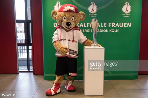 Mascot TropS of Cologne Sport City poses with a trophy of the Women's DFB Cup Final on January 19 2018 in Cologne Germany
