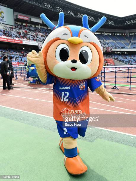 Mascot Vivi of VVaren Nagasaki perfoms prior to the Xerox Super Cup match between Kashima Antlers and Urawa Red Diamonds at Nissan Stadium on...