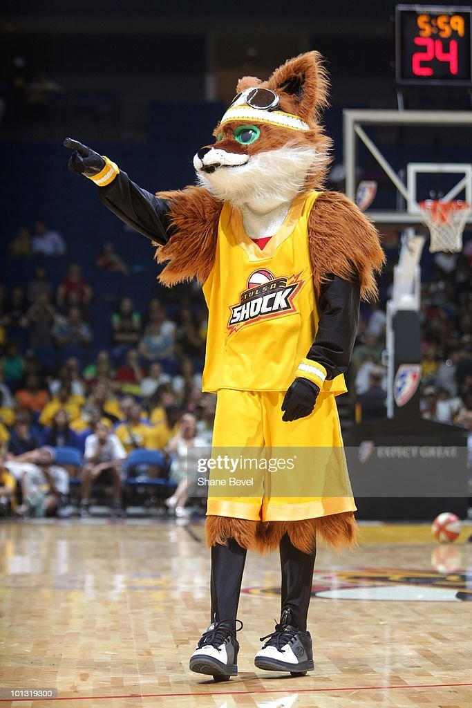 Mascot Volt of the Tulsa Shock entertains the crowd during the WNBA game against the Phoenix Mercury on May 25, 2010 at the BOK Center in Tulsa, Oklahoma. The Mercury won 110-96.
