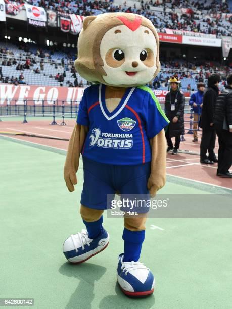 Mascot Vorta-kun of Tokushima Vortis perfoms prior to the Xerox Super Cup match between Kashima Antlers and Urawa Red Diamonds at Nissan Stadium on...