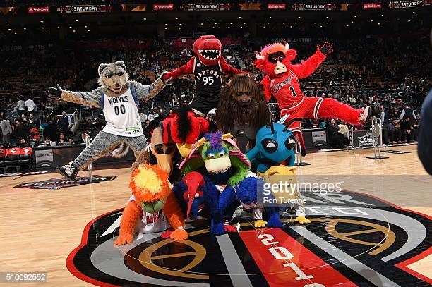 Mascots are seen during the Taco Bell Skills Challenge as part of 2016 NBA AllStar Weekend on February 13 2016 at the Air Canada Centre in Toronto...