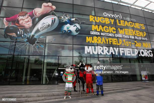 Mascots from Salford City Reds Warrington Wolves Castleford Bradford Bulls and Leeds Rhinos during the photocall at the Omni Centre Edinburgh