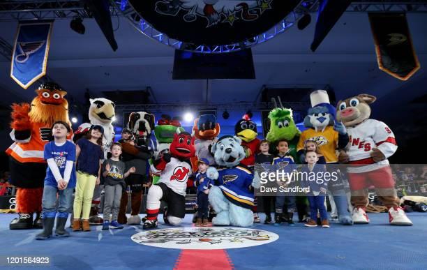 Mascots Gritty of the Philadelphia Flyers Slapshot of the Washington Capitals Bernie the St Bernard of the Colorado Avalanche Stinger of the Columbus...