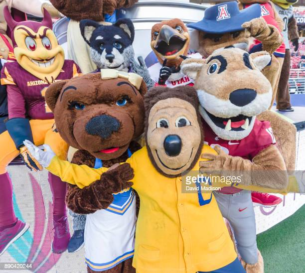 Mascots of the Pac12 Conference including Josephine Bruin Oski and Butch T Cougar Sparky the Sun Devil Harry the Husky Swoop and Wilbur T Wildcat...