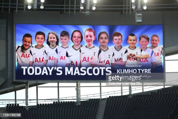 Mascots on the big screen prior to the Premier League match between Tottenham Hotspur and Leeds United at Tottenham Hotspur Stadium on January 02,...
