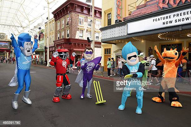 Mascots play cricket during the Women's Big Bash League media opportunity on October 19 2015 on the Gold Coast Australia