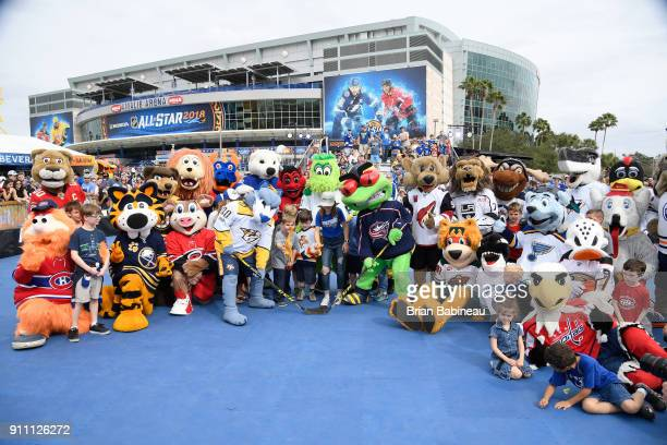 NHL mascots pose for a group photo with young fans as Gnash of the Nashville Predators and Stinger of the Columbus Blue Jackets take a faceoff during...