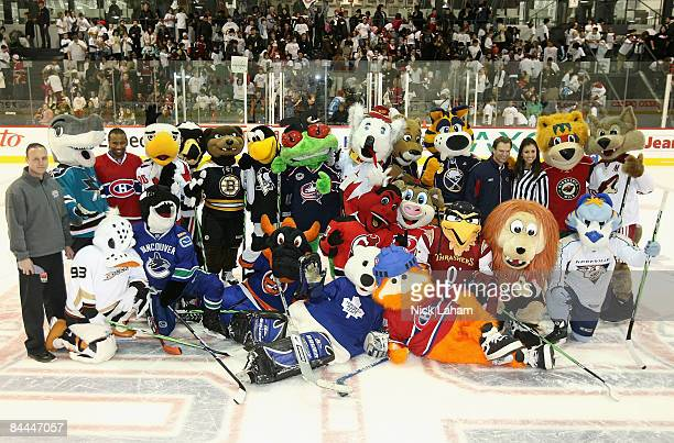 NHL mascots pose together for a group photo during the NHL All Star Mascot Breakfast at the Bell Centre Sports Complex on January 25 2009 in Montreal...