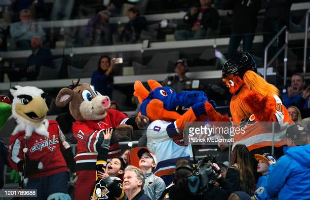 Mascots Slaphsot of the Washington Capitals Stormy of the Carolina Hurricanes Sparky the Dragon of the New York Islanders and Gritty of the...