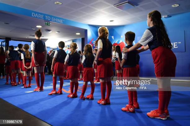 Mascots wait in the tunnel prior to the 2019 FIFA Women's World Cup France Semi Final match between Netherlands and Sweden at Stade de Lyon on July...