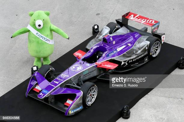 Mascotte Midori Kuma poses during Racing Goes Green an event organized by Kaspersky Lab Official Sponsor of DS Virgin Racing Team to celebrate the...