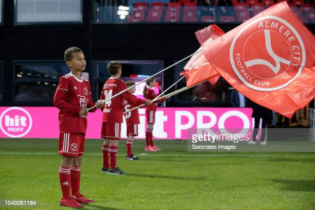 Thomas Kok of FC Dordrecht Edward Francis of Almere City during the Dutch KNVB Beker match between Almere City v FC Dordrecht at the Yanmar Stadium...