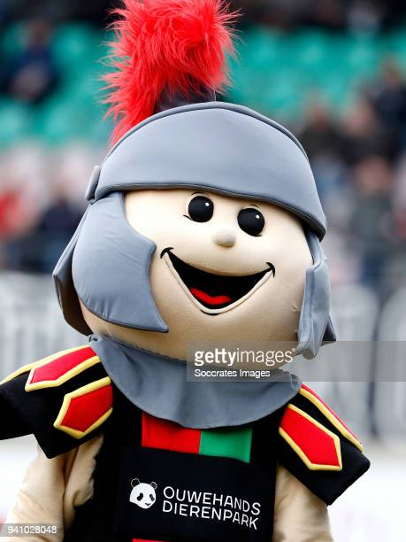 mascotte of NEC Nijmegen during the Dutch Jupiler League match between NEC Nijmegen v Telstar at the Goffert Stadium on April 2 2018 in Nijmegen...