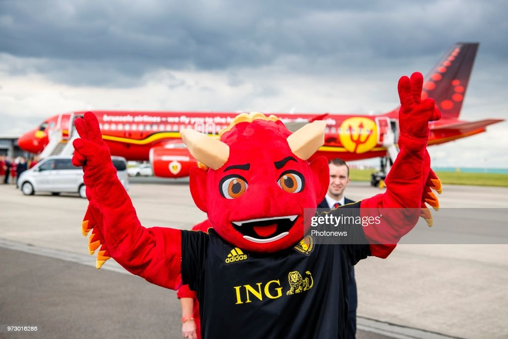 Mascotte RED during the departure of the National Football Team of Belgium to the FIFA 2018 World Cup Football in Russia at Zaventem Airport on June 13, 2018 in Brussels, Belgium,