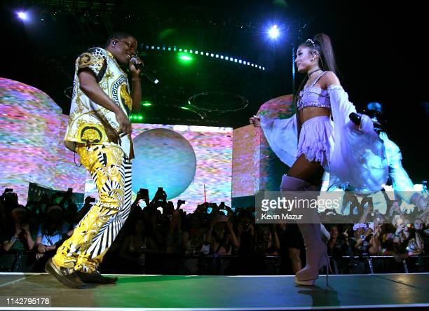 Mase and Ariana Grande perform on Coachella Stage during the 2019 Coachella Valley Music And Arts Festival on April 14 2019 in Indio California