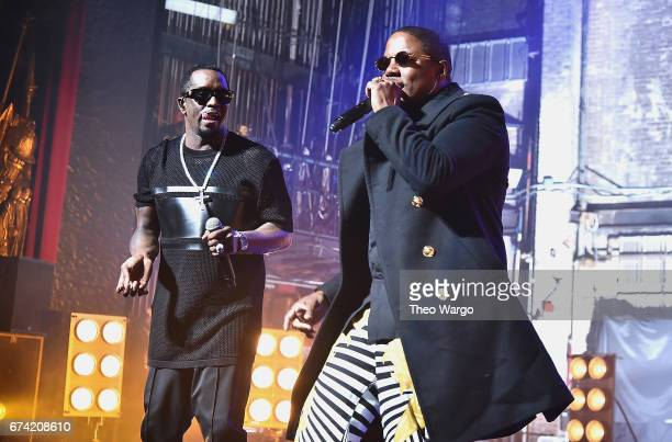 Mase and Sean Combs perform at the Can't Stop Won't Stop The Bad Boy Story Premiere at the Beacon Theatre on April 27 2017 in New York City