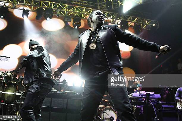 Mase and Sean Diddy Combs perform at the Beats Music Launch Party at Belasco Theatre on January 24 2014 in Los Angeles California