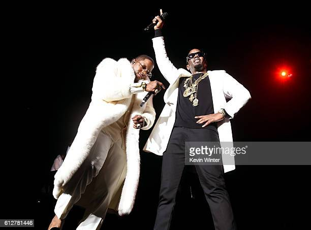 Mase and Sean Diddy Combs perform onstage during the Bad Boy Family Reunion Tour at The Forum on October 4 2016 in Inglewood California