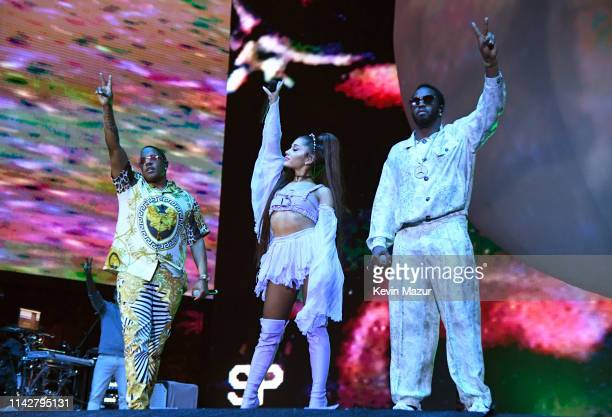 Mase Ariana Grande and Diddy perform on Coachella Stage during the 2019 Coachella Valley Music And Arts Festival on April 14 2019 in Indio California