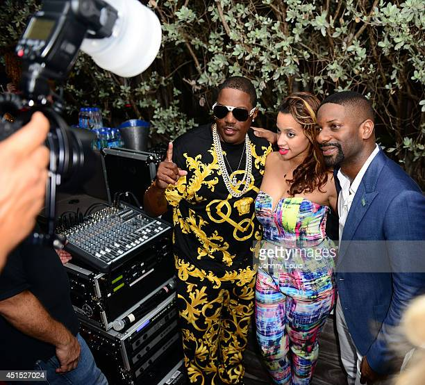 Mase Dascha Polanco and DJ Irie attend DJ Irie Weekend VIP Kickoff Reception at National Hotel on June 19 2014 in Miami Beach Florida