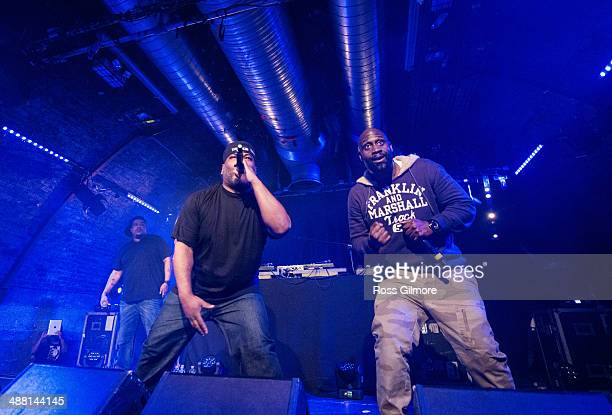 Maseo, Trugoy and Posdnuos of De La Soul perform on stage at The Arches on May 3, 2014 in Glasgow, United Kingdom.